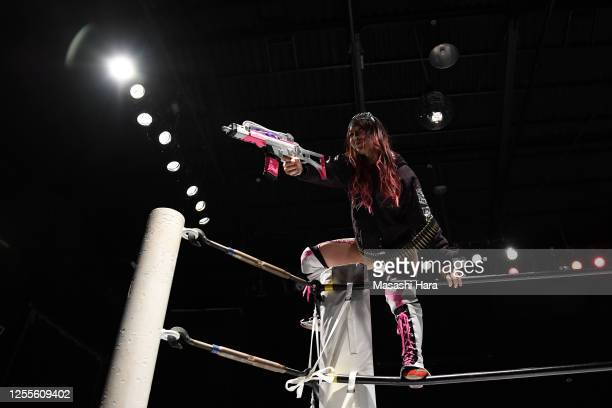 Kyona Jungle looks on during the Women's Pro-Wrestling 'Stardom' at the Shinkiba 1st Ring on July 11, 2020 in Tokyo, Japan.