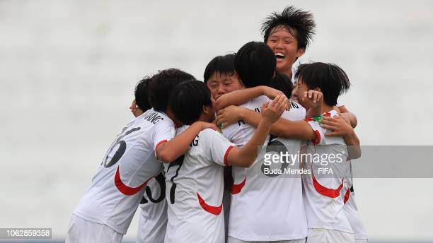 Kyong Yong Kim of Korea DPR celebrates a scored goal with her teammates during the FIFA U-17 Women's World Cup Uruguay 2018 group C match between USA...