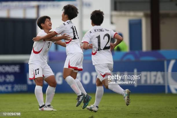 Kyong Yong Kim of Korea DPR celebrates scoring the winning goal during the FIFA U20 Women's World Cup France 2018 group B match between Korea DPR and...