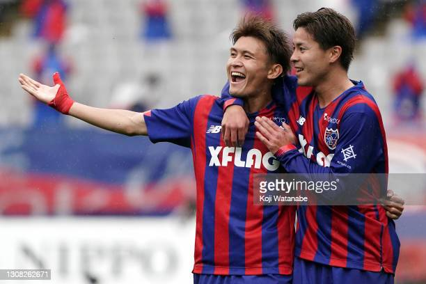 Kyosuke Tagawa of FC Tokyo celebrates scoring his side's first goal during the J.League Meiji Yasuda J1 match between FC Tokyo and Vegalta Sendai at...
