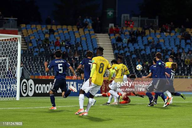 Kyosuke Tagawa of Japan scores an own goal during the 2019 FIFA U-20 World Cup group B match between Japan and Ecuador at Bydgoszcz Stadium on May...