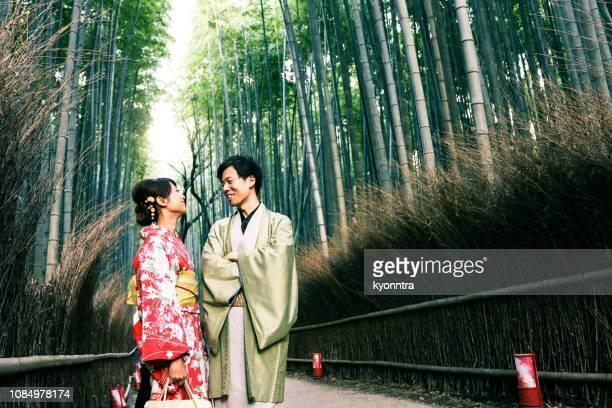 京都カップル - 結婚式 ストックフォトと画像