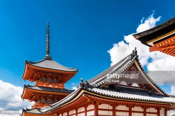 kyoto, japan at kiyomizu-dera temple - kiyomizu dera temple stock photos and pictures