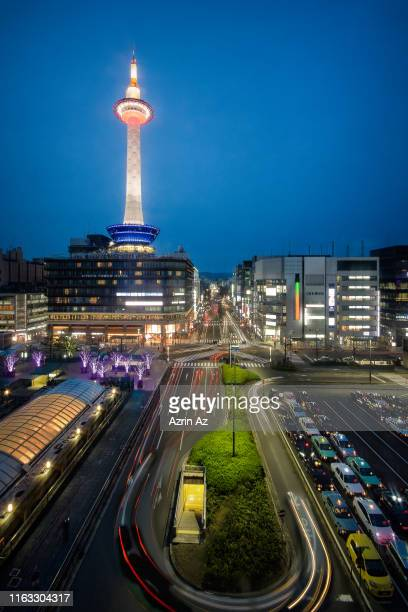 kyoto tower - azrin az stock pictures, royalty-free photos & images