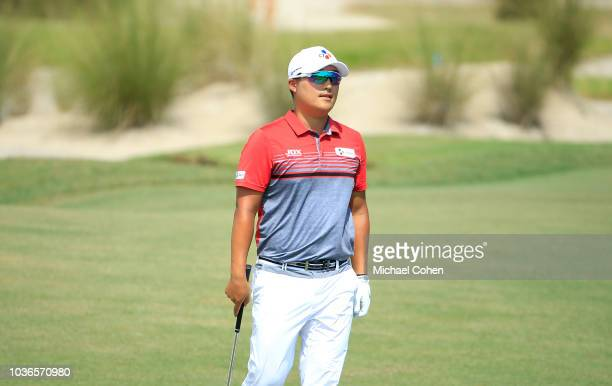KyoungHoon Lee of South Korea lines up a putt on the 13th green during first round of the Webcom Tour Championship held at Atlantic Beach Country...