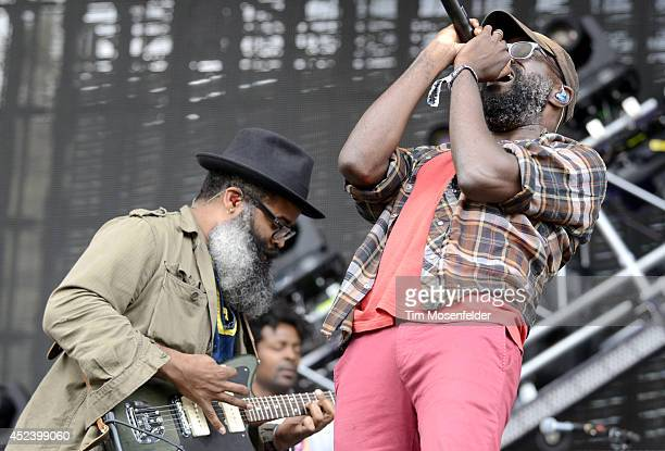 Kyp Malone and Tunde Adebimpe of TV on the Radio perform during the Pemberton Music and Arts Festival at on July 19 2014 in Pemberton British Columbia