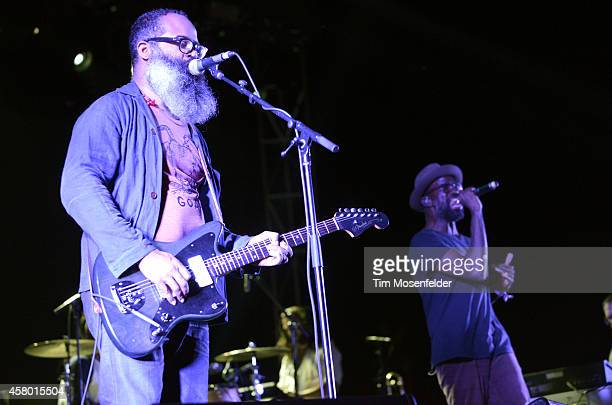 Kyp Malone and Tunde Adebimpe of TV on the Radio perform during the Life is Beautiful Festival in downtown on October 25 2014 in Las Vegas Nevada