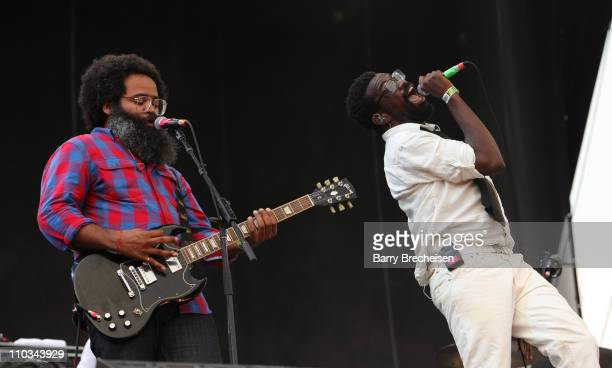 Kyp Malone and Tunde Adebimpe of TV on the Radio performs during the 2009 Lollapalooza music festival at Grant Park on August 8 2009 in Chicago...