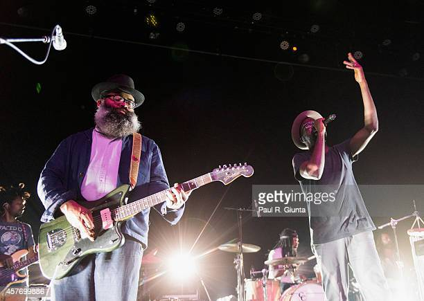 Kyp Malone and Tunde Adebimpe of TV on the Radio performs on stage at Fonda Theater on October 22 2014 in Los Angeles California