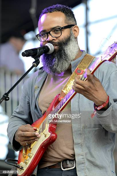 Kyp Malone of TV on the Radio performs during the Bottlerock Music Festival at the Napa Valley Expo on May 30 2014 in Napa California