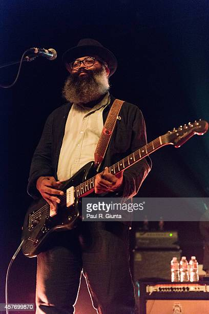 Kyp Malone of TV on the Radio performs on stage at Fonda Theater on October 22 2014 in Los Angeles California