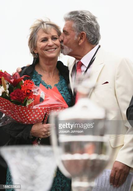 Kypros Kotzikas owner of Master Lavros celebrates with his partner Jane Campbell after winning the Hellers Dominion Trot during New Zealand Dominion...