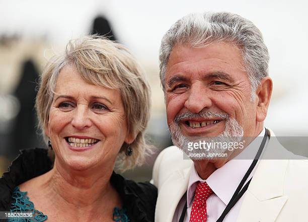Kypros Kotzikas owner of Master Lavros with his partner Jane Campbell after winning the Hellers Dominion Trot during New Zealand Dominion Handicap at...