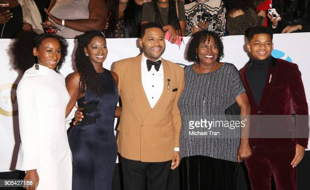 Kyra Anderson Alvina Stewart host Anthony Anderson Doris Hancox and Nathan Anderson arrive to the 49th NAACP Image Awards held at Pasadena Civic...