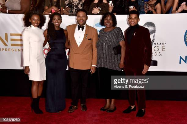 Kyra Anderson Alvina Stewart host Anthony Anderson Doris Hancox and Nathan Anderson attend the 49th NAACP Image Awards at Pasadena Civic Auditorium...
