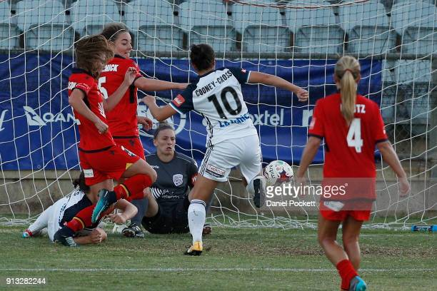 Kyra CooneyCross of Melbourne Victory nets a goal during the round 14 WLeague match between Adelaide United and the Melbourne Victory at Marden...