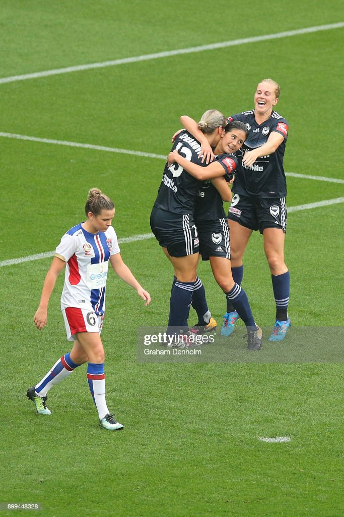 Kyra Cooney-Cross of the Victory celebrates her goal with teammates during the round nine W-League match between the Melbourne Victory and the Newcastle Jets at AAMI Park on December 29, 2017 in Melbourne, Australia.