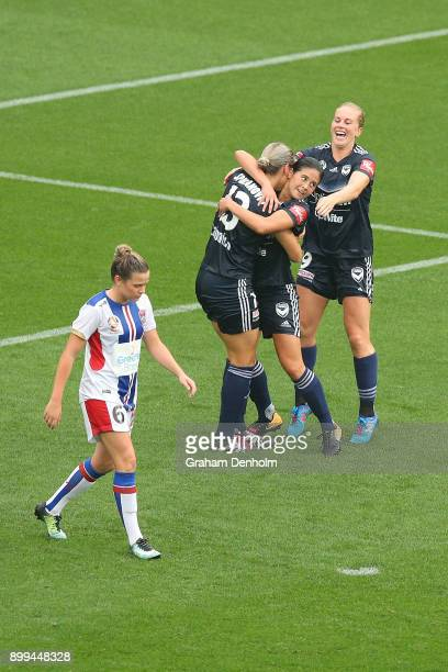 Kyra CooneyCross of the Victory celebrates her goal with teammates during the round nine WLeague match between the Melbourne Victory and the...