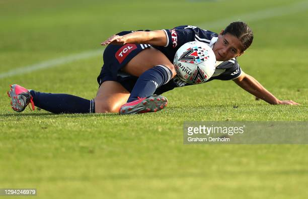 Kyra Cooney-Cross of the Victory controls the ball during the round one W-League match between the Melbourne Victory and the Brisbane Roar at C.B....