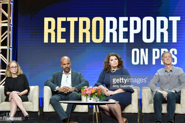 Kyra Darnton Masud Olufani Celeste Headlee and Andy Borowitz of Retro Report speak during the 2019 Summer TCA press tour at The Beverly Hilton Hotel...