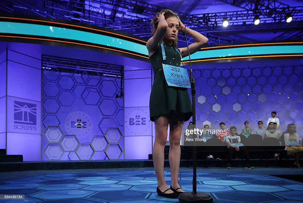 Kyra Holland of Warrenton, Virginia, participates in the finals of the 2016 Scripps National Spelling Bee May 26, 2016 in National Harbor, Maryland. Students from across the country gathered to competed for top honor of the annual spelling championship.