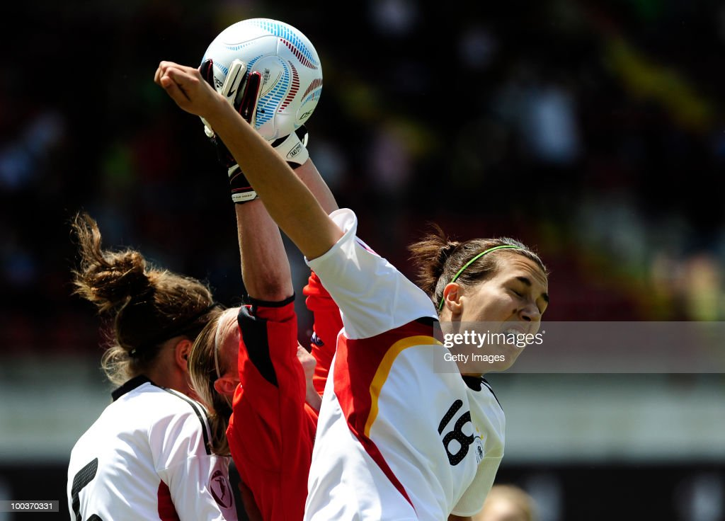 Kyra Malinowski (R) of Germany fights for the ball with Katia Schroffenegger of Italy during the UEFA Women's Under-19 European Championship group A match between Germany and Italy at Milano Arena on May 24, 2010 in Kumanovo, Macedonia.