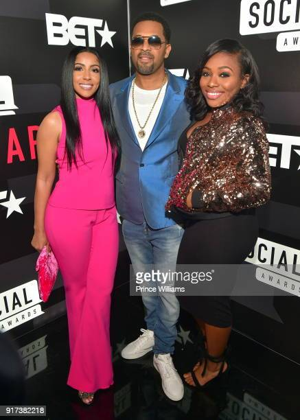 Kyra Robinson Mike Epps and Bria Epps attend BET Social Awards Red Carpet at Tyler Perry Studio on February 11 2018 in Atlanta Georgia