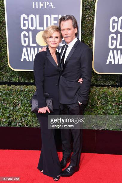 Kyra Sedgwick and Kevin Bacon attend The 75th Annual Golden Globe Awards at The Beverly Hilton Hotel on January 7 2018 in Beverly Hills California