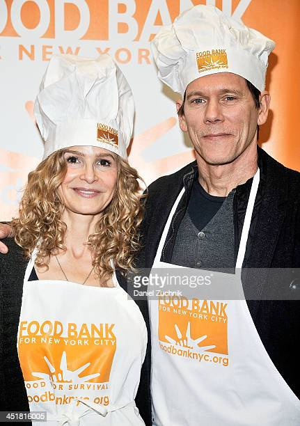 Kyra Sedgwick and Kevin Bacon attend the Food Bank For New York City Prepares 'Thanksgiving To Go' Meals For New Yorkers In Need at Food Bank for New...