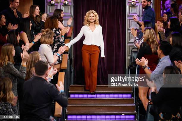 Kyra Sedgwick greets the audience during 'The Late Late Show with James Corden' Wednesday January 17 2018 On The CBS Television Network