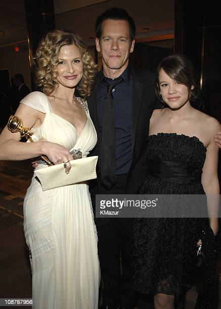 Kyra Sedgwick, Kevin Bacon and daughter during In Style and Warner Bros. 2007 Golden Globe After Party - Inside at Beverly Hilton Hotel in Beverly...