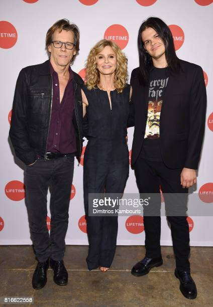 Kyra Sedgwick Kevin Bacon and Travis Bacon attend the Story Of A Girl screening at Neuehouse on July 17 2017 in New York City