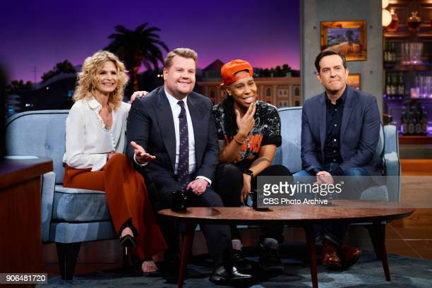 Kyra Sedgwick Lena Waithe and Ed Helms chat with James Corden during 'The Late Late Show with James Corden' Wednesday January 17 2018 On The CBS...