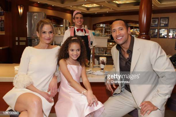 Kyra Sedgwick Madison Pettis and Dwayne The Rock Johnson at the World Premiere of Walt Disney Pictures' The Game Plan at the El Capitan Theatre on...