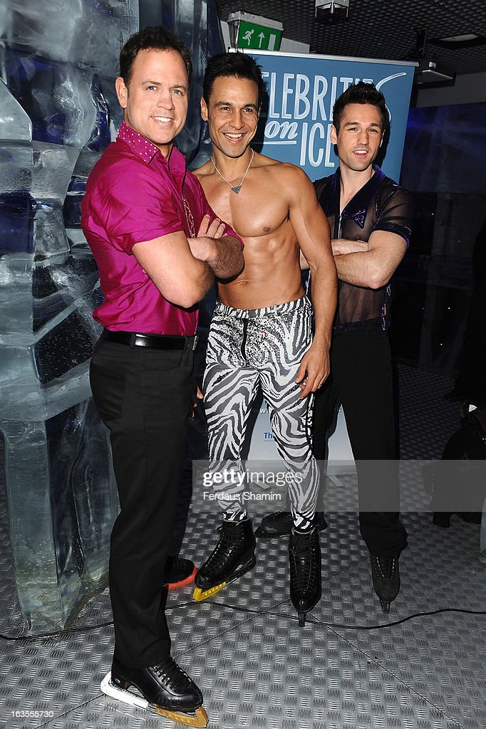Kyran Braken, Chico Slimami and Colin Ratushniak attend a photocall to announce the tour of Celebrities On Ice at The Ice Bar on March 12, 2013 in London, England.
