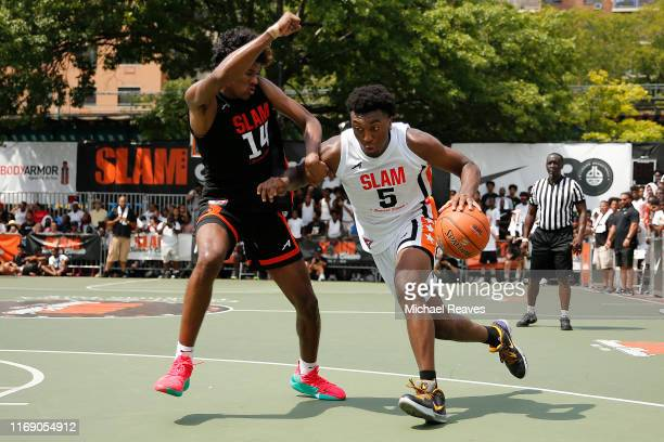 Kyree Walker of Team Jimma drives to the basket against Jalen Green of Team Zion during the SLAM Summer Classic 2019 at Dyckman Park on August 18...