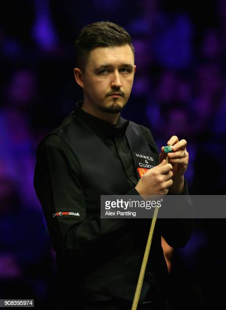 Kyren Wilson chalks his que during The Dafabet Master Final between Kyren Wilson and Mark Allen at Alexandra Palace on January 21 2018 in London...