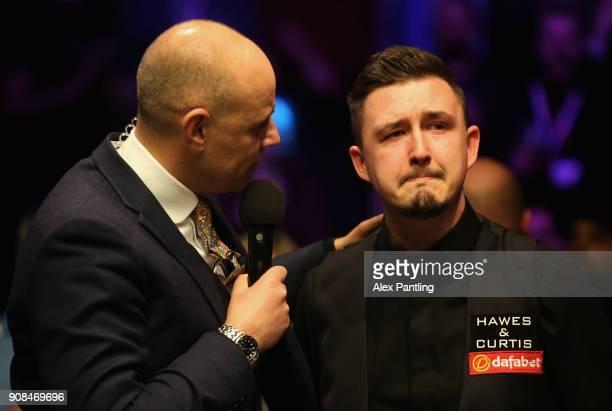 Kyren Wilson looks dejected as he is interviewed following The Dafabet Master Final between Kyren Wilson and Mark Allen at Alexandra Palace on...