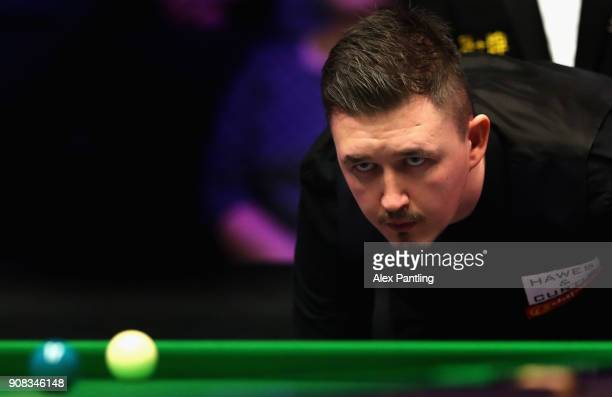 Kyren Wilson looks down the table during The Dafabet Master Final between Kyren Wilson and Mark Allen at Alexandra Palace on January 21 2018 in...