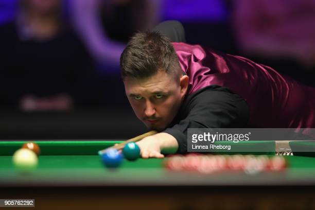 Kyren Wilson of England in action during his first round match against Barry Hawkins of England on day three of The Dafabet Masters at Alexandra...