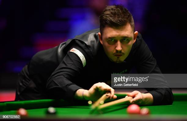 Kyren Wilson of England in action during his match against Mark Williams of Walesduring The Dafabet Masters on Day Five at Alexandra Palace on...