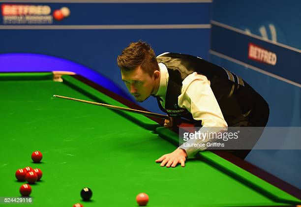Kyren Wilson of England in action during his quarter final match against Mark Selby of England on day eleven of the World Championship Snooker at...