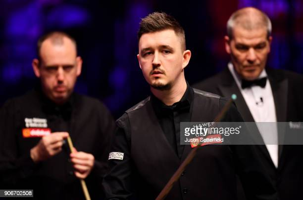 Kyren Wilson of England looks on during his match against Mark Williams of Walesduring The Dafabet Masters on Day Five at Alexandra Palace on January...