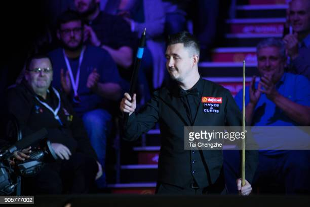 Kyren Wilson of England reacts during his first round match against Barry Hawkins of England on day three of The Dafabet Masters at Alexandra Palace...