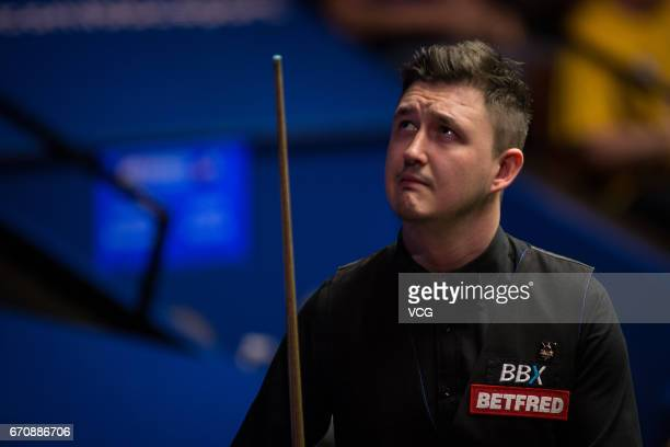Kyren Wilson of England reacts during his second round match against Stuart Bingham of England on day six of Betfred World Championship 2017 at...