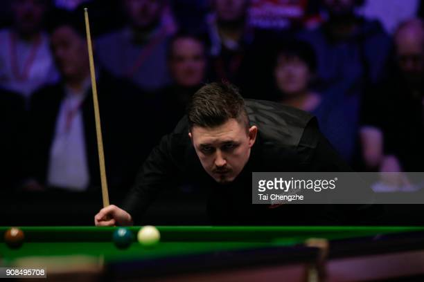 Kyren Wilson of England reacts during the final match against Mark Allen of Northern Ireland on day eight of The Dafabet Masters at Alexandra Palace...