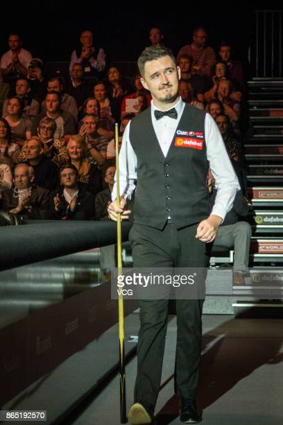 Kyren Wilson of England reacts during the final match against Ronnie O'Sullivan of England on day seven of 2017 Dafabet English Open at Barnsley...
