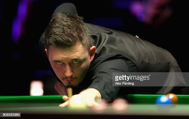 Kyren Wilson plays a shot during The Dafabet Master Final between Kyren Wilson and Mark Allen at Alexandra Palace on January 21 2018 in London England