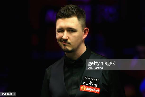 Kyren Wilson reacts during The Dafabet Master Final between Kyren Wilson and Mark Allen at Alexandra Palace on January 21 2018 in London England