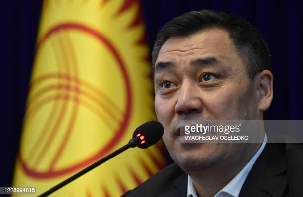 Kyrgyz acting prime minister Sadyr Japarov holds a press conference at the Ala-Archa state residence in Bishkek on October 10, 2020.